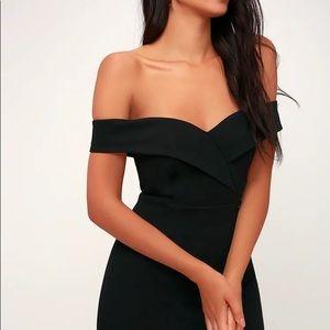 Lulu's Classic Glam Black Off The Shoulder Dress